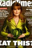 Sarah Ferguson, Duchess of York.    Posing with cabbages etc.